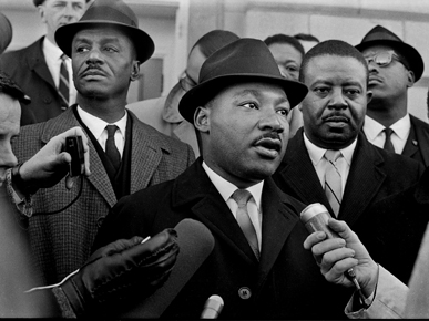 Civil rights leaders the Revs. Martin Luther King Jr. (foreground), Fred Shuttlesworth (left), and Ralph Abernathy (right) attend a voter-registration drive at the Dallas County Courthouse in Selma in January 1965. (From Encyclopedia of Alabama, courtesy of The Birmingham News)