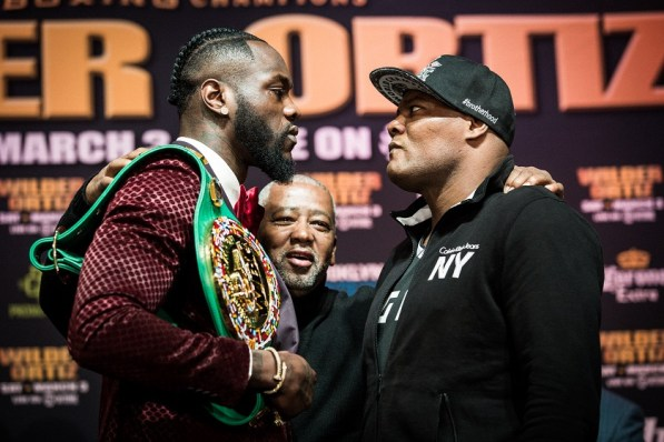 Deontay Wilder, left, will face Luis Ortiz in New York on March 3. (Amanda Westcott/Showtime)