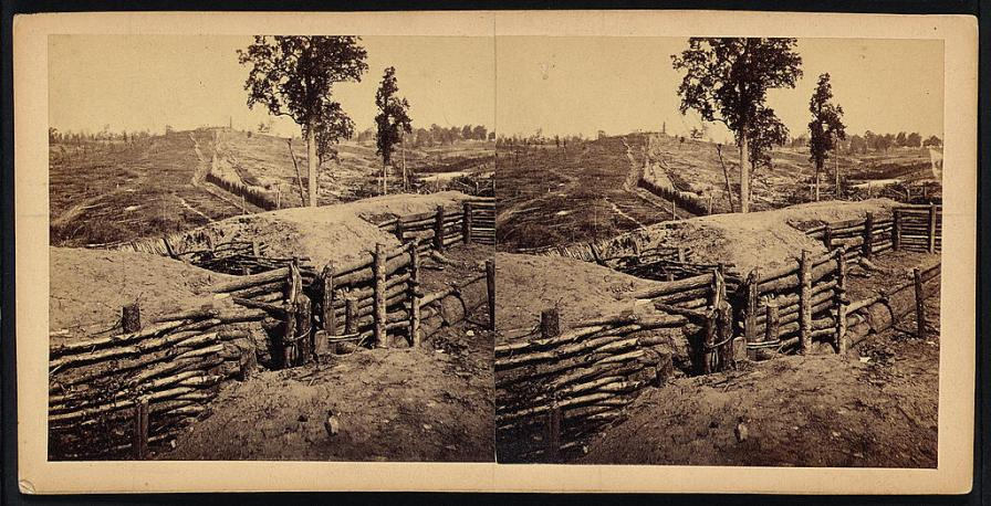 Rebel lines northwest of Atlanta, between the Western & Atlantic Railroad and Peach Tree Street, November 1864. (Photograph by George N. Barnard, Library of Congress, Prints and Photographs Division)