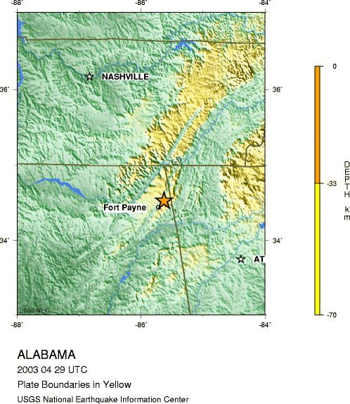 Epicenter of the 2003 earthquake. (USGS, Wikipedia)