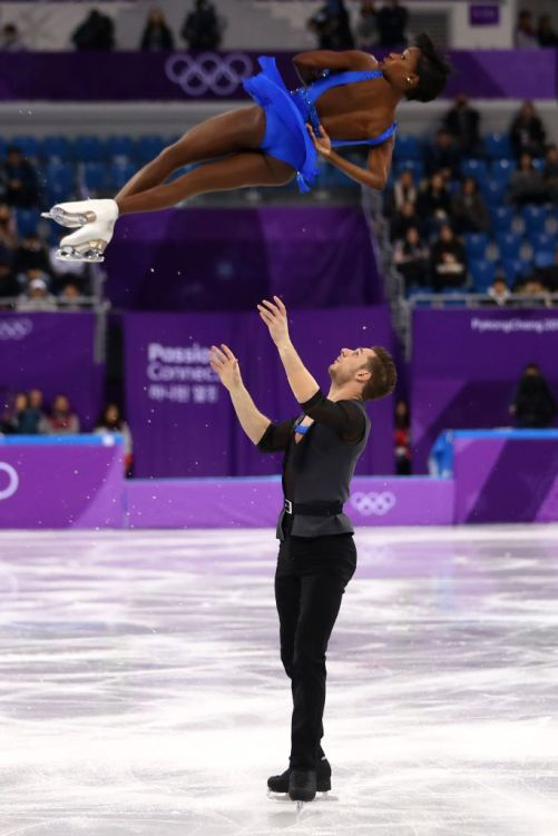 Morgan Ciprès and Vanessa James skate in the 2018 Winter Olympics in Pyeongchang, South Korea. (Getty Images)