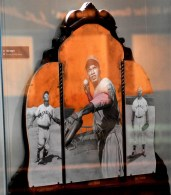 Jackie Robinson is the central figure depicted in a display at the Negro Southern League Museum. He is flanked by Larry Doby, left, and Hank Thompson. (Solomon Crenshaw Jr./Alabama NewsCenter)