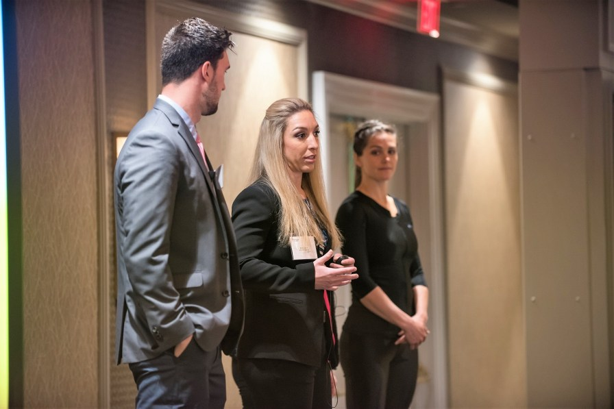 Sarah Gascon talks about her team's ESCAPE Therapy business concept, which took the top prize in the Tiger Cage competition. (Auburn University)