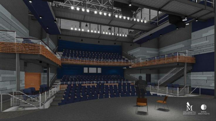 A rendering shows the 350-seat theater in the future 36,000-square-foot Center for the Arts at the University of Montevallo. (Davis Architects)