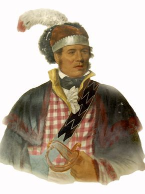 William McIntosh, or Tustunnuggee Hutkee (ca. 1775-1825), was a Creek headman and speaker of the Lower Creek Council. McIntosh fought alongside the Americans as a general during the Creek War of 1813-14 and the First Seminole War. On April 30, 1825, McIntosh was executed by order of the Creek National Council for approving illegal land cessions. (From Encyclopedia of Alabama, print by McKenney and Hall, from the Birmingham Public Library Tutwiler Collection of Southern History and Literature)