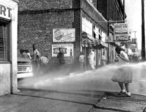 "The May 2, 1963, launch of the Children's Crusade during the Birmingham Campaign of the civil rights movement saw City Commissioner Eugene ""Bull"" Connor authorize the arrest of young protesters, as well as crowd control with fire hoses and police dogs. (From Encyclopedia of Alabama, courtesy of The Birmingham News)"