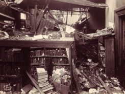 A 1925 fire destroyed the top floor of the Birmingham City Hall and much of the city's library, which was housed in the building at the time. (From Encyclopedia of Alabama, courtesy of Birmingham Public Library Archives)