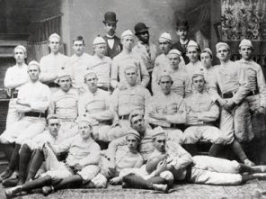 The first football team at the Agricultural and Mechanical College of Alabama (now Auburn University) in 1892. George Petrie, the first Auburn head coach, is seen back row, far right. (From Encyclopedia of Alabama, courtesy of Auburn University Libraries)