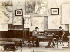 Cadets study in the classroom of Dr. George Petrie in Samford Hall on the campus of the Agricultural and Mechanical College of Alabama (now Auburn University) in Lee County in 1893. (From Encyclopedia of Alabama, courtesy of Auburn University Libraries)