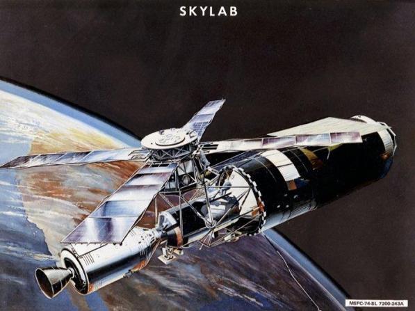 Artist's rendering of the Skylab Space Station in 1973. (NASA/MSFC)