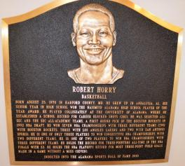 A placard at the Alabama Sports Hall of Fame honors former University of Alabama and Houston Rockets basketball star Robert Horry. (Michael Tomberlin/Alabama NewsCenter)