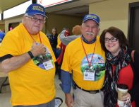 Dick Slattery (left), Jerry Fulmer and Lesley Price were excited about the veterans trip. (Donna Cope/Alabama NewsCenter)