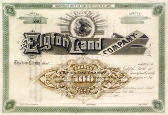 1890s Elyton Land Company stock certificate from the Birmingham History Center. (Bhamwiki)