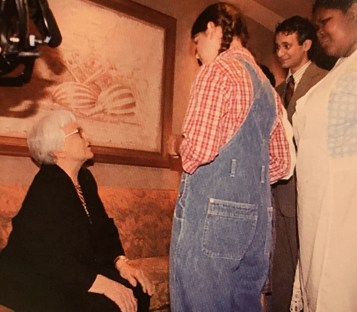 """The cast of the Fairfield and Mountain Brook high schools' production of """"To Kill a Mockingbird"""" meet Harper Lee at the Alys Stephens Center in 2006. (Courtesy of Sandra Jaffe)"""