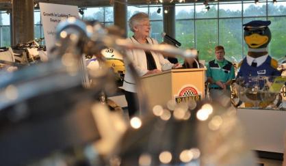 Alabama Gov. Kay Ivey reveals record tourism figures for Alabama in 2017 in a press event at Barber Vintage Motorsports Museum. (Michael Tomberlin / Alabama NewsCenter)