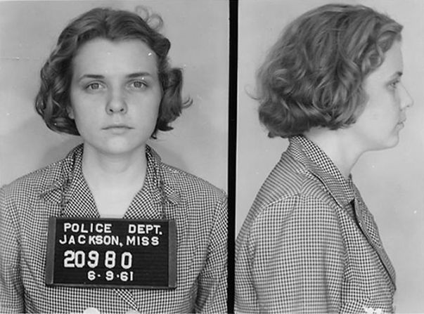 Mugshot of Freedom Rider Winonah Myers. Photograph was taken on June 9, 1961. (TampBay, Mississippi State, Wikipedia)