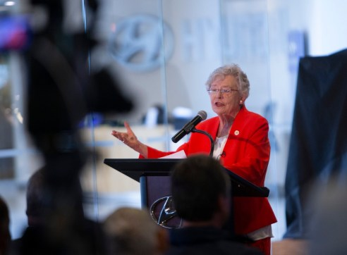 Governor Kay Ivey announces plans for a $388 million engine plant announcement.(Governor's Office, Hal Yeager)