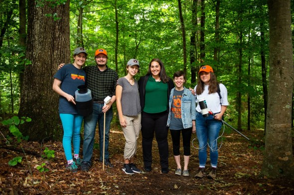Auburn University Assistant Professor Sarah Zohdy and her research team have documented the existence of the Aedes aegypti mosquito, a known transmitter of the Zika virus, in Mobile County for the first time in 26 years. Pictured, from left, are Ansley Murphy, Benjamin McKenzie, Grace Gable, Sarah Zohdy, Shelby Zikeli and Victoria Ashby. (Philip Smith)