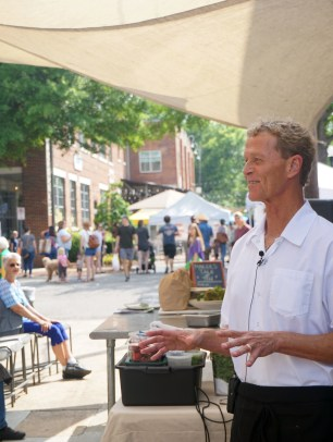 Chef Dean Robb at the chef's demo at the Market at Pepper Place June 2. (Erin Harney/Alabama NewsCenter)