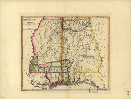 Map of Mississippi and Alabama territories, c. 1817. (Francis Shallus, Library of Congress Geography and Map Division)