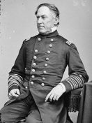 "David G. Farragut (1801-1870) was a Union Navy commander who led his fleet to the capture of New Orleans in 1862 and of Mobile Bay in 1864, during which he reportedly exclaimed, ""Damn the torpedoes, full speed ahead!"" He was the first man promoted to Rear Admiral of the Union Navy, as well as its first four-star admiral. (From Encyclopedia of Alabama, courtesy of Library of Congress)"