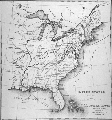 Map of cholera outbreaks in the U.S., c. 1874. (Ely McClellan, National Library of Medicine)