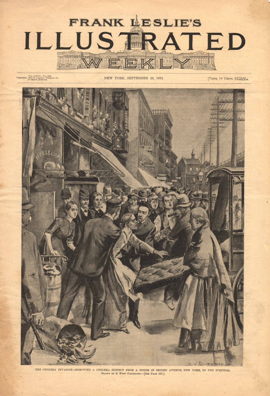 """""""The cholera invasion- removing a cholera suspect from a house in Second Avenue, New York, to the hospital."""" (Artwork by B. West Clinedinst, Frank Leslie's Illustrated Weekly, National Library of Medicine)"""