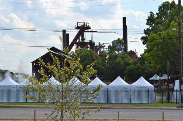 The view from the patios and decks include historic Sloss Furnaces. (Michael Tomberlin / Alabama NewsCenter)