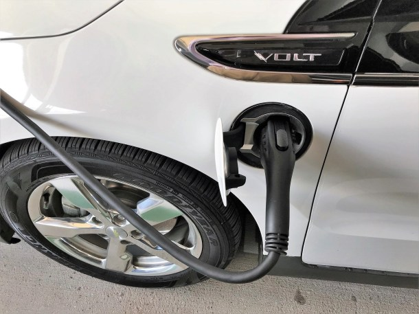 An electric vehicle charges at one of Birmingham-Shuttlesworth International Airport's new charging stations. (Michael Sznajderman/Alabama NewsCenter)