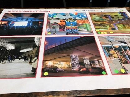 A visioning poster presents possible concepts for arts and culture aspects of the CityWalk BHAM linear park. (Michael Sznajderman/Alabama NewsCenter)