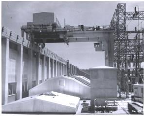 Construction of Logan Martin Dam. (Alabama Power Company Archives)