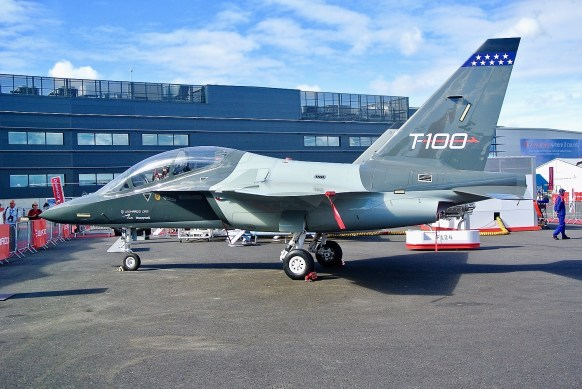 Leonardo's T-100 jet trainer, which could be built in Alabama, is on display at the 2018 Farnborough International Airshow. (contributed)