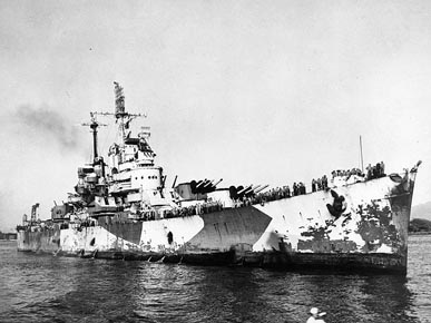 In October 1944, the USS Birmingham returned to the U.S. after sustaining damage while aiding the USS Princeton, which was bombed during the Battle of Leyte Gulf in the Philippines. (From Encyclopedia of Alabama, U.S. Naval Historical Center)