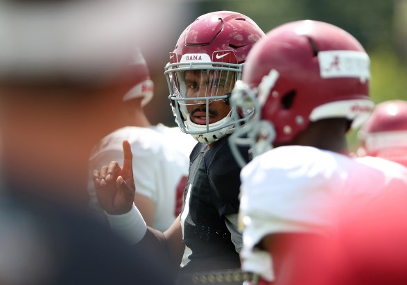 Alabama quarterback Jalen Hurts huddles with his teammates during practice for the 2018 football season. (Kent Gidley/University of Alabama Athletics)