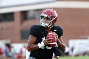Alabama quarterback Tua Tagovailoa works during practice. He is competing with 2016-17 starter Jalen Hurts for the starting quarterback position. (Kent Gidley/University of Alabama Athletics)