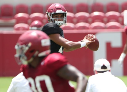 Alabama quarterback Tua Tagovailoa prepares to throw a pass. (Kent Gidley/University of Alabama Athletics)
