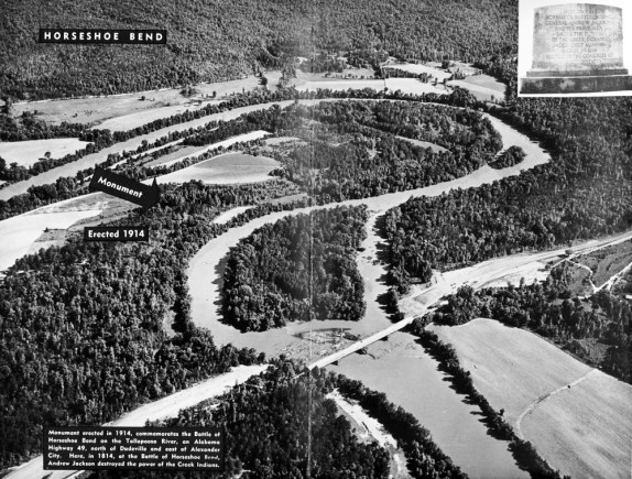Historic aerial view of the Horseshoe Bend National Military Park. (Alabama Power Company Archives)
