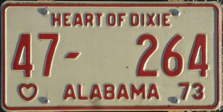 Alabama passenger vehicle license plate, 1973. (Alabama Department of Revenue, Motor Vehicle Division, Wikipedia)