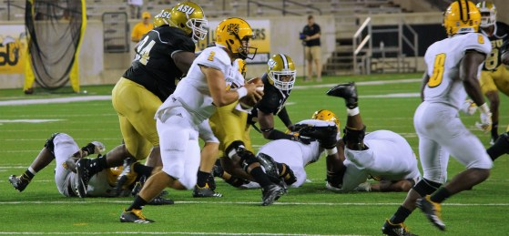 Coach Donald Hill-Eley sees Alabama State's success starting with its defensive line, and Christian Clark (94) anchors the middle of that line. (Alabama State Athletics)