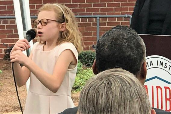 "Georgia Adlin, a fifth-grader at the Alabama Institute for the Blind, sang ""Stars Fell on Alabama."" (Michael Tomberlin / Alabama NewsCenter)"