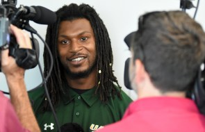 UAB cornerback Broderick Thomas talks with the press at Media Days. (Solomon Crenshaw Jr./Alabama NewsCenter)
