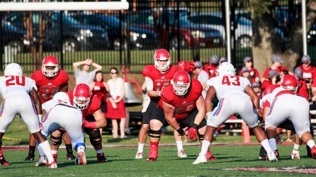 Call Dyer (55) is one of two returning starters on West Alabama's offensive line. (West Alabama Athletics)