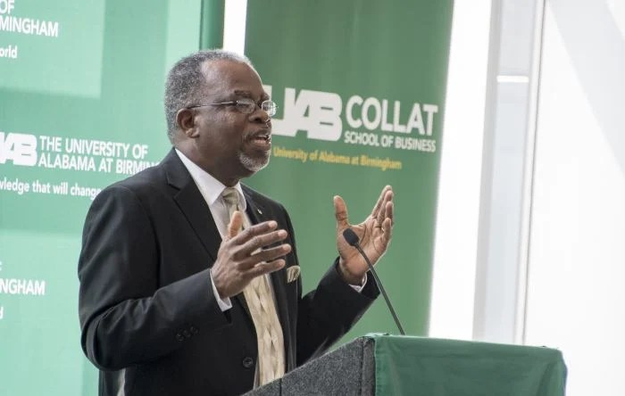 Eric Jack, Ph.D., dean of the UAB Collat School of Business, helped welcome guests. (Adam Pope/UAB)