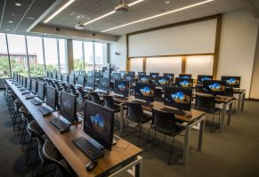 New computer work stations await. (Adam Pope/UAB)