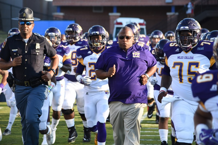 Head Coach Reginald Ruffin takes the field with his Miles College Golden Bears. The head coach and new athletic director expects to field a more seasoned team this year. (Miles Athletics)