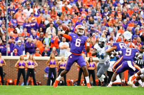 Zerrick Cooper (6) passes against Citadel. The Clemson transfer to JSU is vying for the starting quarterback position. (David Platt)