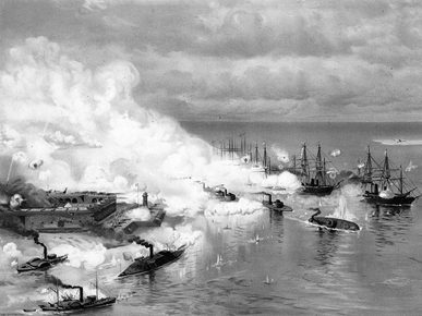A print of Battle of Mobile Bay, painted by J. O. Davidson, 1886. (From Encyclopedia of Alabama, courtesy of U.S. Naval Historical Center)