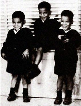 Triplets born to Henry and Mahala Ashley Dickerson in Montgomery on Aug. 25, 1939. The brothers are, from right, Alfred, John and Chris Dickerson, an internationally known body builder. (From Encyclopedia of Alabama, courtesy of Chris Dickerson)