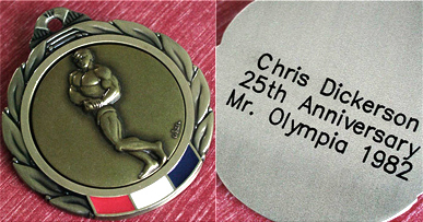 A medal honoring the 25th anniversary of Chris Dickerson's 1982 victory in the Mr. Olympia competition. He was the oldest bodybuilder to win the competition at age 43. (From Encyclopedia of Alabama, courtesy of Chris Dickerson)