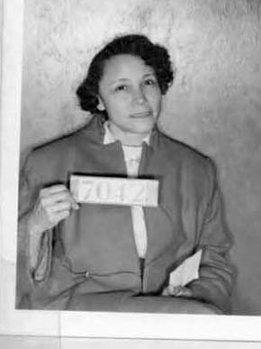 A booking photograph of Jo Ann Robinson (1912-1992) after her arrest during the Montgomery Bus Boycott in 1955. Robinson was a civil rights activist and professor at Alabama State College (now Alabama State University) who became president of the Women's Political Council in Montgomery and was a leading figure in organizing the boycott. (From Encyclopedia of Alabama, Montgomery County Archives)